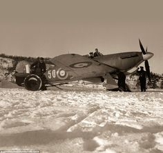 Pictured is the Hurricane of Sqn Ldr Tony Rook near Murmansk, Russia in 1941. An RAF squad...