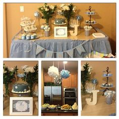Blue and gray baby shower.