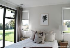 The walls of this sunny spare bedroom are painted Resene White Pointer and the ceiling and architraves are painted Resene Double Alabaster. Bedroom Wall Paint Colors, Bedroom Color Schemes, Paint Colors For Living Room, White Ceiling Paint, Resene Colours, Accent Wall In Kitchen, Cedar Cladding, Open Plan Kitchen Living Room