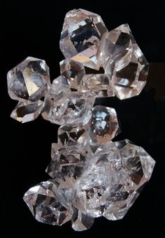 April Birthstone - Herkimer Diamond Cluster.  Herkimer diamonds are not diamonds, but doubly-terminated quartz crystals.