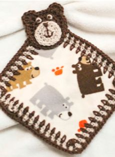 Use a piece of scrap fabric to make this adorable bear lovey  ... free pattern and tutorial!