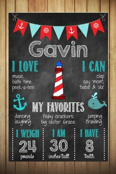 Nautical Themed Birthday Chalkboard Poster // First Birthday Chalkboard on Etsy, $15.00