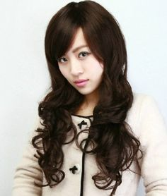 New Sexy Womens Girls Fashion Style Wavy Curly Long Hair Human Full Wigs Colors Make up Wigs (dark brown)