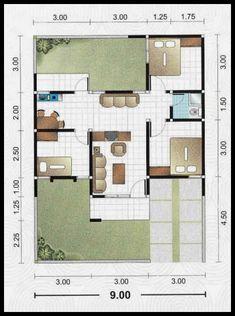 4 denah rumah minimalis 2 lantai type 36
