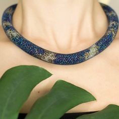 Gold and Blue-multicolor thick rope mesh necklace by TubesJewelry on Etsy #necklace #thick #rope #eosine #rainbow #galaxy #multicolor #gold #copper #snake #mesh #crochet #choker #statement #magnetic #assessories #bold #tube #beads #handmade #etsy