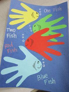 One fish Two Fish Handprint art - More Dr. Seuss Activities