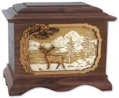 100 of the World's Most Beautiful Wood Cremation Urns: Whitetail Deer Wood Cremation Urn (also available with Mule Deer)