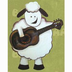 SHEEP ram playing guitar FARM ANIMAL art  13x19 GLOSSY PRINT