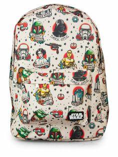 Star Wars Tattoo Flash Print Backpack by Loungefly #InkedShop #starwars #vader #darth #darthvader #leia #flash #r2d2 #yoda #bobafett #stormtrooper #bookbag #backpack #b2s #geekchic #nerdy #cool
