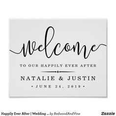 Happily Ever After | Wedding Welcome Sign #weddingwelcome #wedding #poster #weddingposter #sign