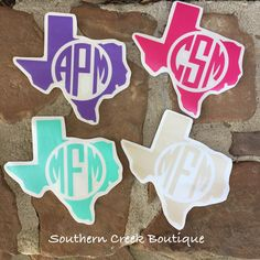 Texas Block Monogram Vinyl Crafts, Vinyl Projects, Circuit Projects, Yeti Decals, Vinyl Decals, Car Decal, Vinyl Monogram, Monogram Design, Cricut Fonts