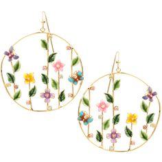 ASOS Summer Garden Hoop Earrings ($17) ❤ liked on Polyvore featuring jewelry, earrings, accessories, flowers, aros, jewellery woearrings, womenswear, summer earrings, flower jewelry and fish hook jewelry