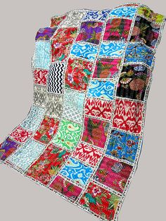 Floral Kantha Blanket Handmade Bedspread Firm In Structure Indian Sari Kantha Quilt In Sea Blue