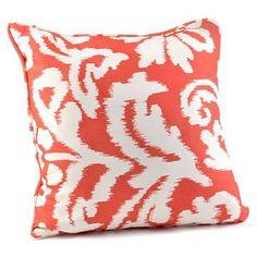 coral ikat throw pillow