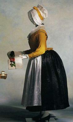 Жакет и нижняя юбка. Около 1780. Темно-желтый шелк-муар, воротник-шалька, перед жакета застегнут на пуговицы, нижняя юбка из шелкового черного дамаска, фишю и передник из расшитого муслина.