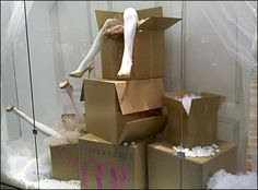 Mail Order Bride Window Dressing display shoes. Find your mannequin legs at MannequinMadness.com