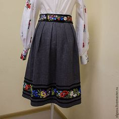 Black skirt in boho embroidered skirt pleated skirt full flared skirt women flared skirt midi skirt outfit casual midi skirt midi skirts Black midi skirt with hand embroidery made by the old cut. This pleated skirt skirt has a velvet ribbons of different widths . On the wide