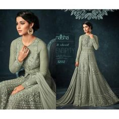 Designer heavy embroidered long gown - Fabric Details :-Top :- net With Embroidery work + diamond workSleeves :-net With Emb.Designer heavy embroidered long gown - Fabric Details :- Top :- net With Embroidery work + diamond workSleeves :-net With Emb. Designer Gowns, Blouse Designs, First Time, One Piece, Embroidery, Silk, Fabric, Tops, Dresses