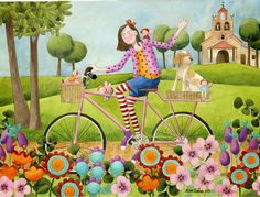 Love this painting Art Fantaisiste, Art Mignon, Bicycle Painting, Bicycle Print, Naive Art, Pretty Pastel, Whimsical Art, Cute Illustration, Cute Art