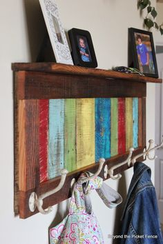 Colorful, Rustic Coat Hook  http://bec4-beyondthepicketfence.blogspot.com/2014/04/colorful-rustic-coat-hook-shelf.html