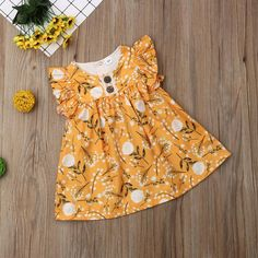 Lovely Spring Yellow Floral Dress from kidspetite.com! Adorable & affordable baby, toddler & kids clothing. Shop from one of the best providers of children apparel at Kids Petite. FREE Worldwide Shipping to over 230+ countries ✈️ www.kidspetite.com #girl #clothing #toddler #dresses