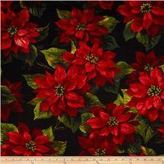 Michael Miller Scarlet Poinsettia Black