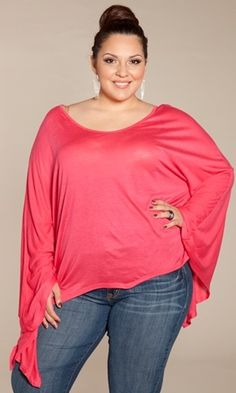 Plus Size Top at www.curvaliciousclothes.com Sizes 1X-5X  Slub-knit batwing top in icy shades for a night on the town.  A dramatic style in soft, jersey knit. Semi-sheer material with a relaxed drape to it. LOVE ♥