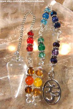 Chakra Clear Quartz Pendulum - Chakra Pendulum, Quartz Pendulum, Chakra, Om Pendulum, Rainbow Pendulum, Beaded Pendulum, Pendulum, Dowsing