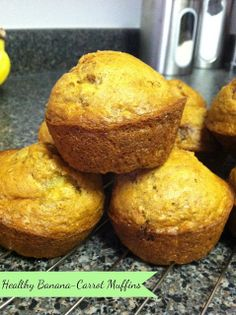 I made these this morning. Doubled the recipe without a problem and, since I didn't have applesauce, substituted a tablespoon of oil for it. Everyone loved them. Everyone loved them! >> Little Miss Kimberly Ann: Healthy Banana Carrot Muffins