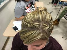 Two lace braid into a pony tail