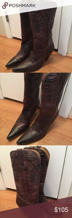 """Charlie 1 Horse by Lucchese Cowboy Boots Beautiful boots by Charlie 1 Horse by Lucchese!  These were handmade in Brazil. Size 8.5. Heel height 2"""" and shaft circumference is 13.5. Excellent condition!!! Retailed for $350!  These are a steal! Lucchese Shoes"""