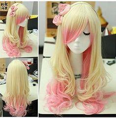 long zipper beige+pink wavy Cosplay hair wig - L-email Cosplay Wig Lolita Cosplay, Cosplay Hair, Cosplay Wigs, Kawaii Hairstyles, Cute Hairstyles, Wig Styles, Curly Hair Styles, Kawaii Wigs, Blonde With Pink