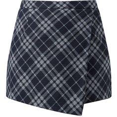 Navy Tartan Wrap Skort (30 PLN) ❤ liked on Polyvore featuring skirts, mini skirts, skort, faldas, shorts, wrap skirt, blue skort, wrap skort, mini skirt and navy blue mini skirt