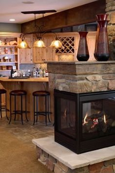 Nice basement bar and fireplace 3 Sided Fireplace, Home Fireplace, Fireplace Remodel, Fireplace Design, Corner Fireplaces, Rustic Fireplaces, Home Upgrades, Basement Remodeling, Kitchen Remodeling