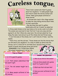 Careless tongue Reading Comprehension - My Reading Kids Reading Stories, Kids Reading, Guided Reading, Teaching Reading, Learning, Reading Comprehension Worksheets, Phonics Worksheets, English Moral Stories, English Story