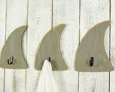 Shark Decor Decorative Wall Hooks Beach Bathroom Towel Hooks Beach House Wall Decor Surf Decor Wooden Shark Bathroom Decor Ocean Decor