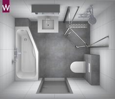 Kleine #badkamer met versmalling voetgedeelte in ligbad