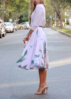 White floral skirt, sweater, nude heels. Street summer elegant women fashion outfit clothing style apparel @roressclothes closet ideas