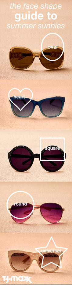 The Right Sunnies For Your Face Shape: When it comes to sunglasses, not every style suits every face shape. Find the right shades to flatter your features this summer. Shop TJMaxx. com for more summer essentials.