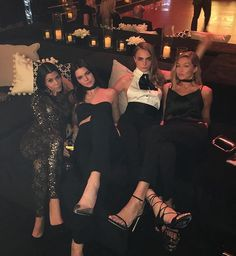 Gigi Hadid spent a night out with Kourtney Kardashian, Kendall Jenner and Cara Delevingne.