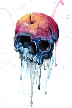 watercolour! omg. reminds me of snow white, with the death from an apple imagery.