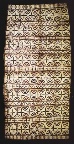 Hiapo is the Niuean word for tapa cloth. | Traditionally it was patterned with designs unique to the island, many of them depicting events that were topical at the time the hiapo was painted. In recent years, hiapo art has been enjoying a revival.