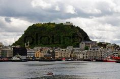Image of 'City of Aalesund, Norway with the harbour and the mountain called Aksla'