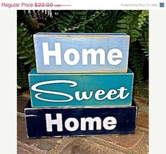 CIJ Sale Save 20 Home Sweet Home   Decor Wooden Three by ArtSortof, $17.60 @spsteametsy,  #spsteam
