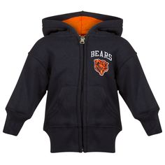 a12417b79 Chicago Bears Infant Navy and Orange Angry Bear Face Logo Full-Zip Hoodie