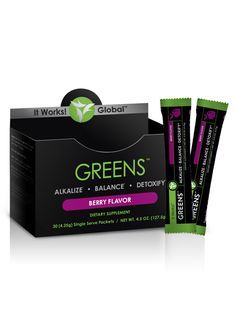 NEW Berry Flavor!!  Just mix, shake, and take your Greens on the Go!            Detoxify, alkalize, and promote pH balance within the body     Acidity-fighting magnesium and potassium blend     Cutting-edge probiotic support for digestive health     38 herbs and nutrient-rich superfoods     8+ servings of fruits and vegetables in every packet     Free radical-fighting antioxidants     Great-tasting berry flavor  https://rkocher.myitworks.com/Shop/Product/1158