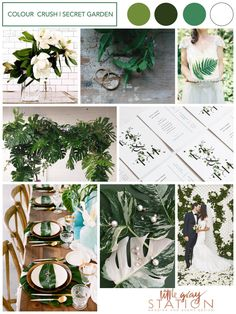 WEDDING THEME | SECRET GARDEN INSPIRATION   This colour palette is modern and fresh, an emphasis on abundant foliage over florals with crisp whites and notes of gold. Clean lines and a modern take on a botanical wedding invitation, this theme is informal yet packs a punch with it's refined colour palette and dramatic green hues.  Designed by Little Gray Station  #green #greenwedding #gardenwedding #secretgarden #wedding #weddingtheme