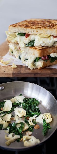 My favorite pizza flavors and three kinds of cheese go into this Spinach and Artichoke Grilled Cheese | foodiecrush.com