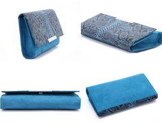 Snake Print Print Clutch  Price: £15.99  【Size】13cm x 23cm x 3cm 【Material】PU with Snake print + flannel 【Color】Blue