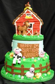 66 Farm Animal Themed Birthday Cake With Top Tier Barn Cake Themed Birthday Cakes, 1st Boy Birthday, Themed Cakes, Birthday Ideas, Farm Animal Party, Farm Party, Barnyard Party, Mcdonalds Birthday Party, Barn Cake